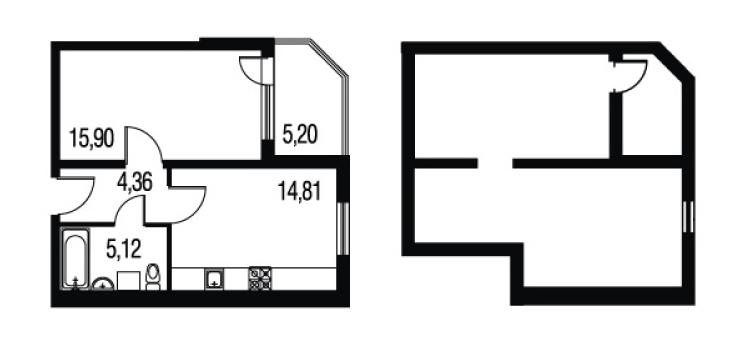 Планировка Однокомнатная квартира площадью 48.21 кв.м в ЖК «Петербургское Садовое Кольцо»