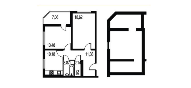 Планировка Двухкомнатная квартира площадью 91.87 кв.м в ЖК «Петербургское Садовое Кольцо»