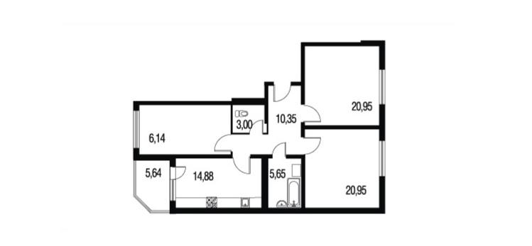 Планировка Трёхкомнатная квартира площадью 97.56 кв.м в ЖК «Петербургское Садовое Кольцо»