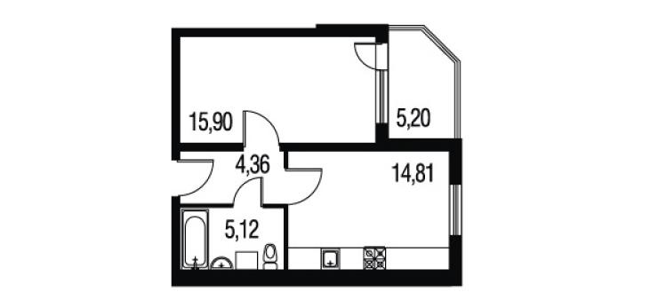 Планировка Однокомнатная квартира площадью 45.39 кв.м в ЖК «Петербургское Садовое Кольцо»