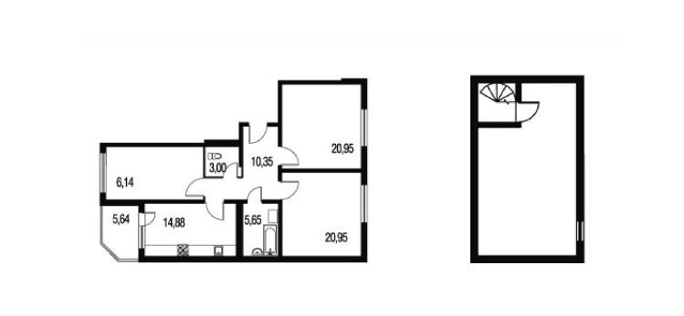 Планировка Трёхкомнатная квартира площадью 150.08 кв.м в ЖК «Петербургское Садовое Кольцо»