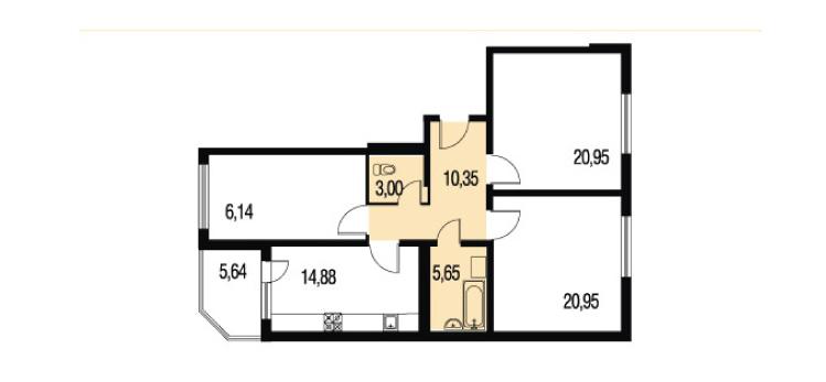 Планировка Трёхкомнатная квартира площадью 120.13 кв.м в ЖК «Петербургское Садовое Кольцо»