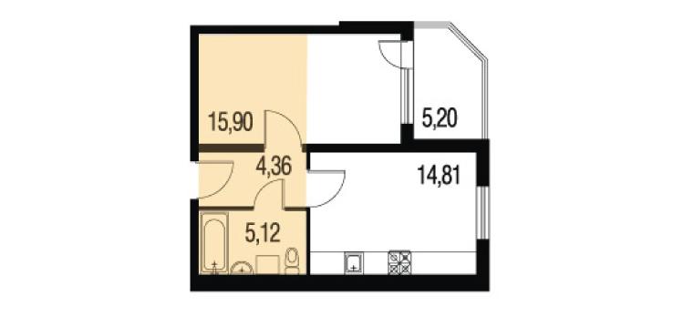 Планировка Однокомнатная квартира площадью 63.28 кв.м в ЖК «Петербургское Садовое Кольцо»