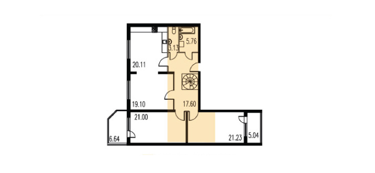 Планировка Трёхкомнатная квартира площадью 196.48 кв.м в ЖК «Петербургское Садовое Кольцо»