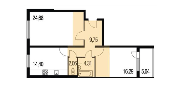 Планировка Двухкомнатная квартира площадью 105.06 кв.м в ЖК «Петербургское Садовое Кольцо»